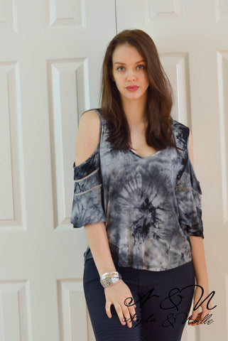 McCOY - Cold Shoulder Ink Blot Tie Dye Top by Nyla and Noelle