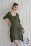 ANNIKA - Army Green Everyday Dress with Front Slouch Pockets by Nyla and Noelle