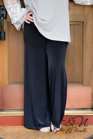 MIA - Basic Black or Navy Dress Palazzo Pants by Nyla and Noelle