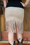 FRINGE OUT - Chestnut Micro Fiber Boho Chic Fringe Skirt