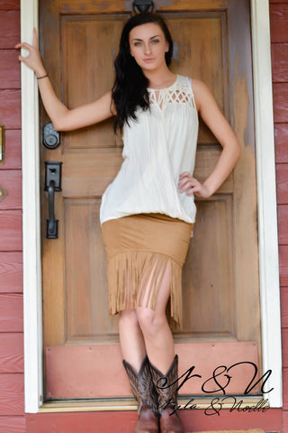 FRINGE OUT - Buck Skin Micro Fiber Boho Chic Fringe Skirt by Nyla and Noelle