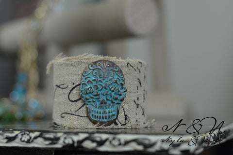 CALAVERA - Sugar Skull Burlap Cuff Bracelet by Nyla and Noelle