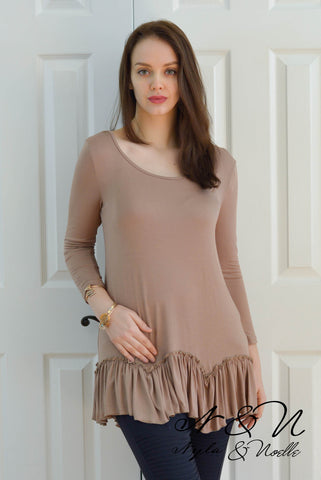 WILDER - Mocha Tunic Top with Push Sleeves and Ruffle Bottom
