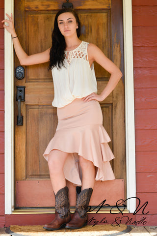 Desert Rose - Layered Ruffle High Low Skirt by Nyla and Noelle