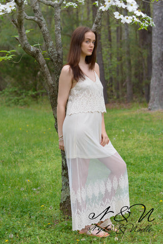 CARIBBEAN BREEZE -  Romantic Lace Boho Maxi Dress by Nyla and Noelle