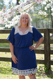 DAIQUIRI- Navy Plus Size Dress with Crochet Lace Accents