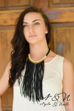 Black Suede Drape Necklace by Nyla and Noelle