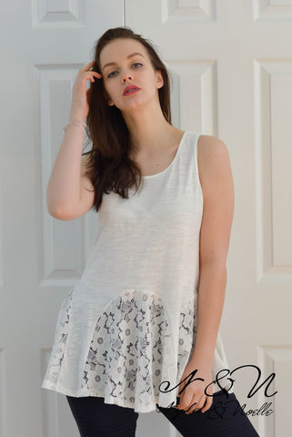 CORALYN - White Lace Hem Lux Vintage Fabric Tank Top