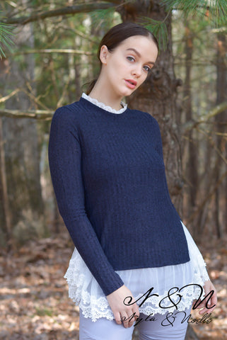 AMABEL - Vintage Romance Lace Edged Sweater by Nyla and Noelle