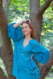 BEDELIA - Turquoise BOHO Chic Tunic Crochet Lace Bell Sleeves