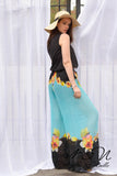 ISLAND BREEZE - Pleated Chiffon Floral Print Pants