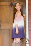 ELOISE - Bubble Gum Off the Shoulder Ombre Tunic Dress