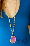 CASTLE FUCHSIA- Pink Polished Geode Pendant and Semi-Precious Stone Necklace
