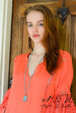 BEDELIA - Coral BOHO Chic Tunic Crochet Lace Bell Sleeves