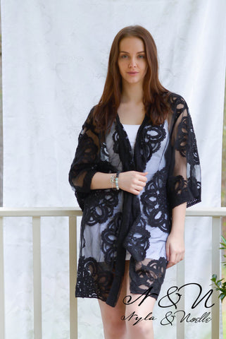 BAHARI -  Black Balinese Embroidered Boho Wrap by Nyla and Noelle