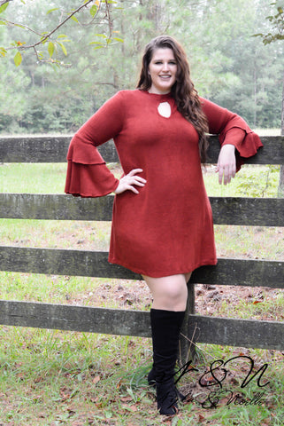 DAMITA - Plus Size BOHO Bell Sleeve Dress by Nyla and Noelle