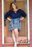 Loretta (Navy) Plus Size BOHO Print Dress by Nyla and Noelle