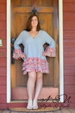 DIXIE - Plus Size Tunic Dress with Floral Accents