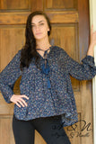 LENORA - Navy Floral Print Top with Tassels
