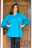 BEDELIA - Plus Size Turquoise  BOHO Chic Tunic Crochet Lace Bell Sleeves