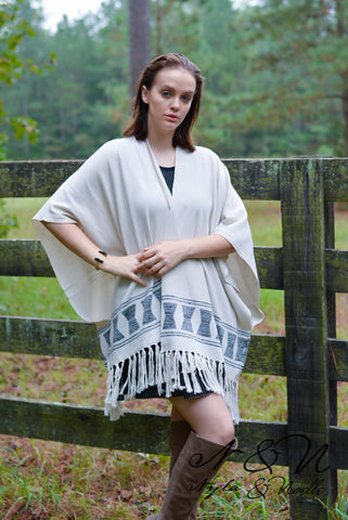 WINSLOW - Sweater Knit Fringe Poncho Wrap