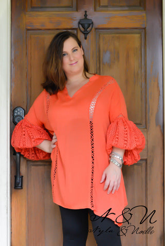 BEDELIA - Plus Size Coral BOHO Chic Tunic Crochet Lace Bell Sleeves