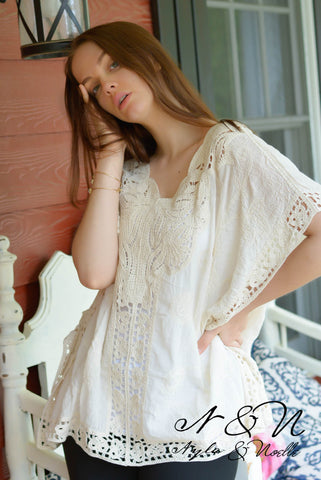 AYANA - Boho Gauze and Crochet Lace Top by Nyla and Noelle