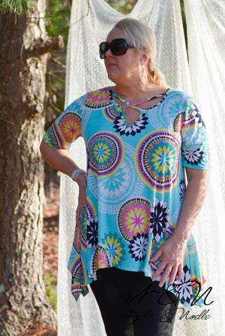 ELANA - Plus Size Tunic with Decorative Neckline