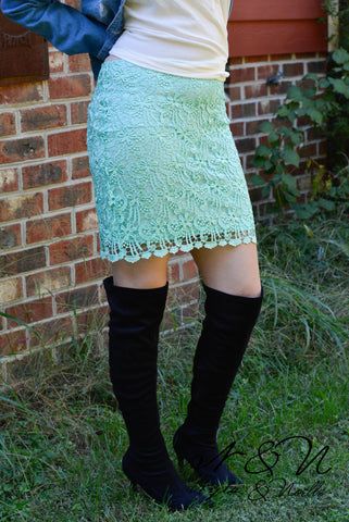 CHARLOTTE - Mint Lace Pencil Skirt by Nyla and Noelle