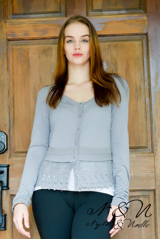 CLOVER - Lace Bottom and Back Cardigan by Nyla and Noelle