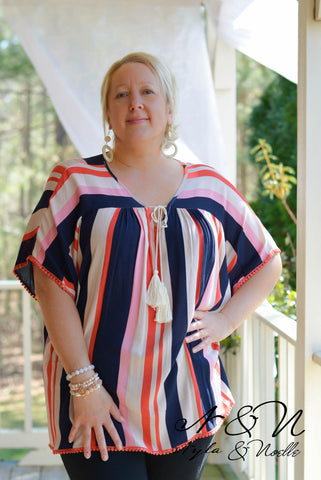 NAUTIQUE - Plus Size Striped Crepe Boho Top by Nyla and Noelle
