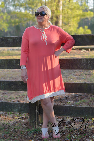 ACACIA - Plus Size Coral Dress with Lace Accents by Nyla and Noelle