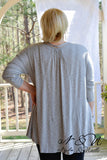 DERRINGER - Gray Oversize Boho Cut Top with Lace Accents