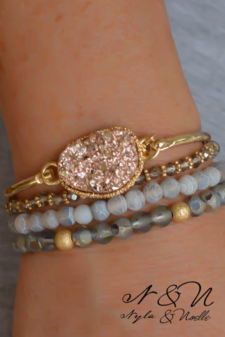 BRAZEN BRONZE - Gold Tone Bangle with Bronze Druzy Stone
