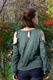 MISTLETOE - Striped Cold Shoulder Bell Cuff Top by Nyla and Noelle