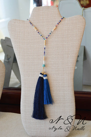 DOUBLE HAPPINESS - Two Tassel Beaded Necklace by Nyla and Noelle