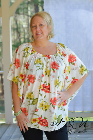 BELIZE - Plus Size Crepe Floral On / Off Shoulder Top
