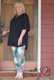 BERMUDA - Black Plus Size Criss-Cross Neckline Tunic by Nyla and Noelle