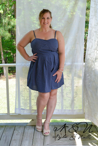 DOTTE - Plus Size Navy Retro Vintage Polka Dot Dress