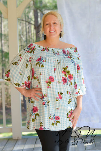MARTINIQUE -  Plus Size Off the Shoulder Print Tunic