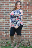 CONSTANCE- Plus Size Floral Top with Arm Cut Outs by Nyla and Noelle