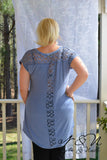 IUKA ROAD - Plus Size Blue Tunic Length TShirt with Crochet Lace Panels