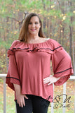 GINGERBREAD - Plus Size BOHO Ruffle Top by Nyla and Noelle