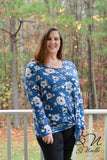BLUE CHRISTMAS - Plus Size Floral Side Tie Blouse