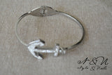 ANCHORS AWAY - Stainless Steel Crystal Anchor Clam Shell Bangle Bracelet