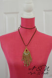 DREAM WEAVER -Boho Gold Metal Bead Tassel Suede Necklace