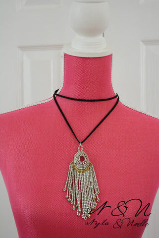 DREAM WEAVER - Boho Silver Metal Bead Tassel Suede Necklace