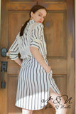 NASHVILLE - Striped Shirt Dress with Lace Panels by Nyla and Noelle