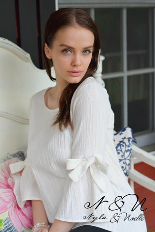 ATLAS - Ivory Crinkle Cotton Top with Bow Accent Bell Sleeves