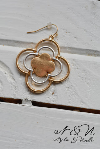 CLOVER POP GOLD- Gold and Silver Toned Earrings by Nyla and Noelle